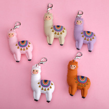 Epoxy Three-dimensional Cute Alpaca Keychain Doll Creative Cartoon Little Sheep Bag Pendant Jewelry Small Gift Girl Keyring