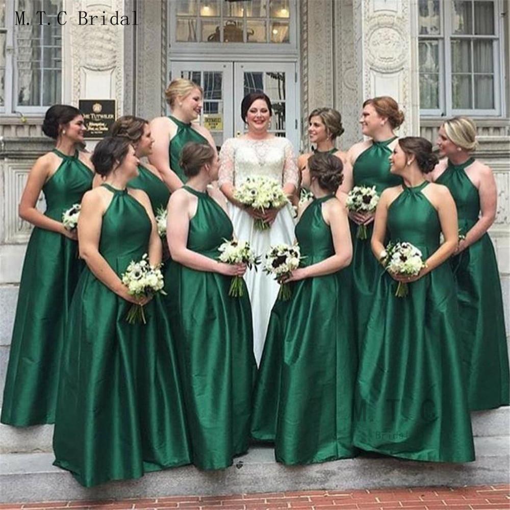 Robes de demoiselle d'honneur dos nu vert foncé de haute qualité Halter une ligne longueur de plancher longues robes de mariée 2019 robe de demoiselle d'honneur