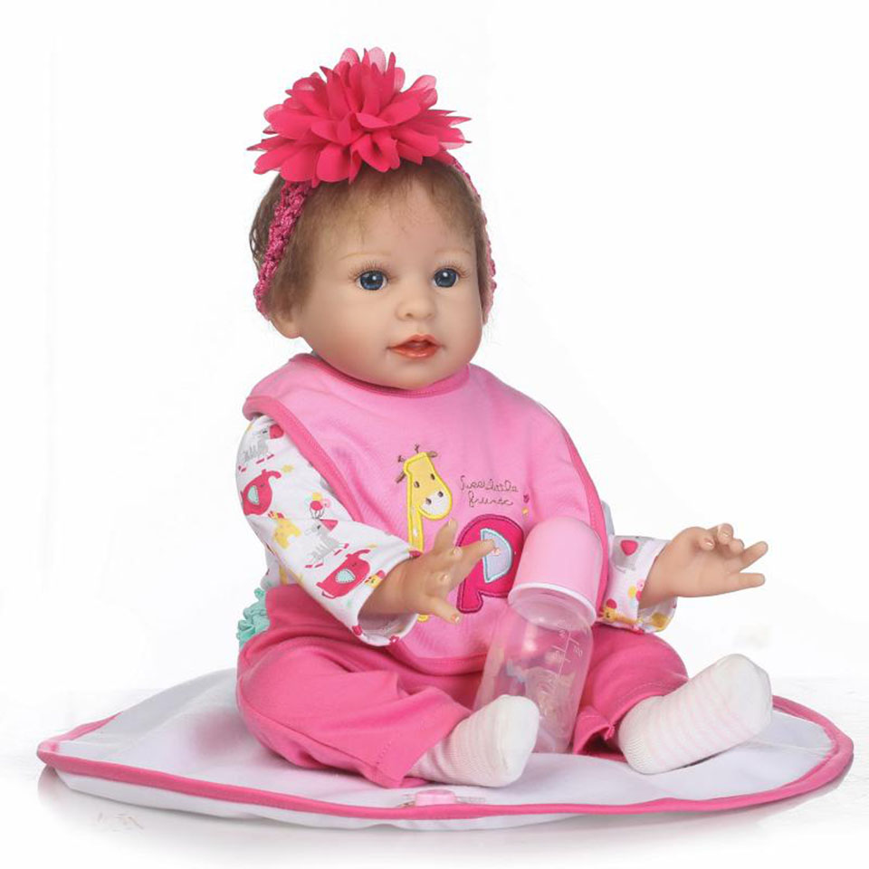 Soft Baby Dolls Toy 22'' Realistic Silicone Reborn Baby Doll So Truly Newborn Girl Design For Kids Playmates Bonecas Xmas Gifts smile reborn girl with blue dress 22 lifelike baby dolls soft silicone fashion kids toy xmas gifts reborn baby doll for sale