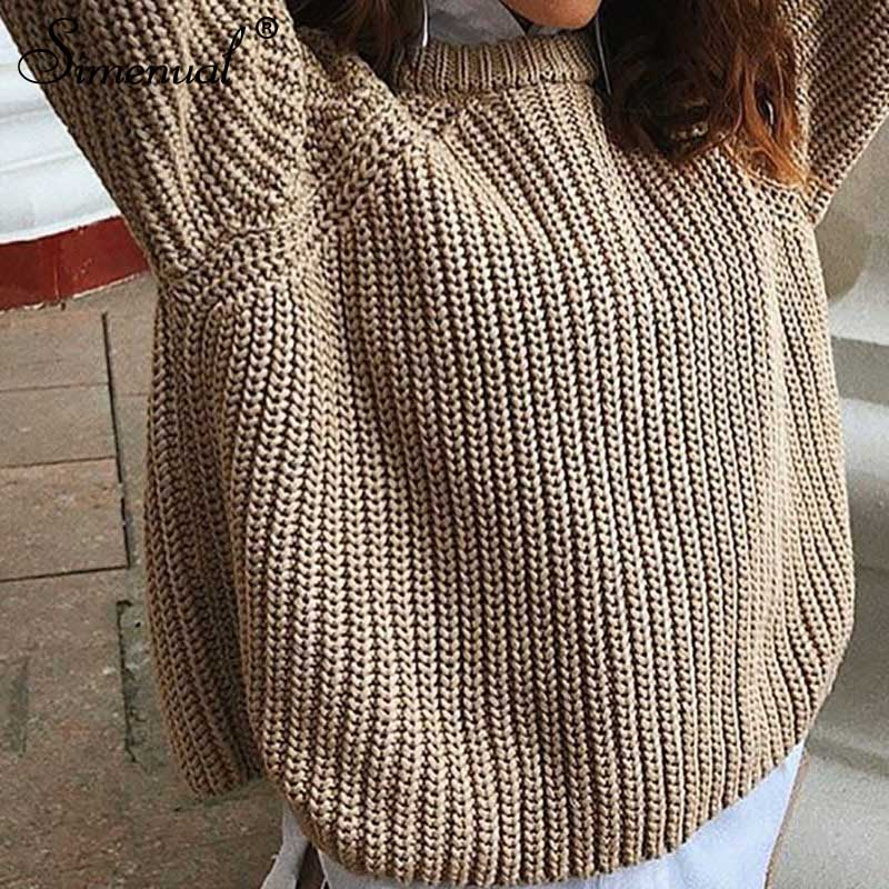 Simenual Casual Fashion Knitted Sweater Women 19 Autumn Winter Pullovers Jumpers Solid Basic Long Sleeve Slim Khaki Sweaters 5
