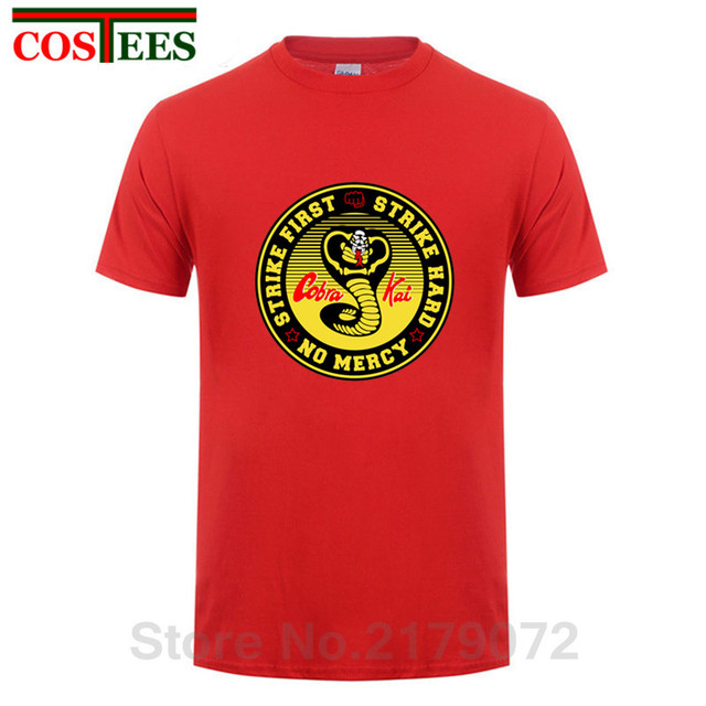b1838875b Vestido Vintage verano 2018 Cobra Kai T shirts men Karate T-shirt Cool  black mamba