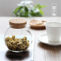 Free ShippingHigh temperature glass seal pot Clear glass storage jar with Wooden lid Green Tea Seal Pot Kitchenroom Storage Box