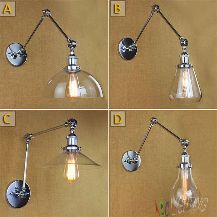 Modern Vintage Industrial Long Glass shades Chrome Plated  Sconce Wall Light Wall Lamps Bedroom appliques luminaires murales диски helo he844 chrome plated r20