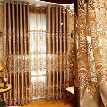 2017 European Golden Embroidery Chinese Curtain Living Room Bedroom Curtain Tulle Window Treatment Customized
