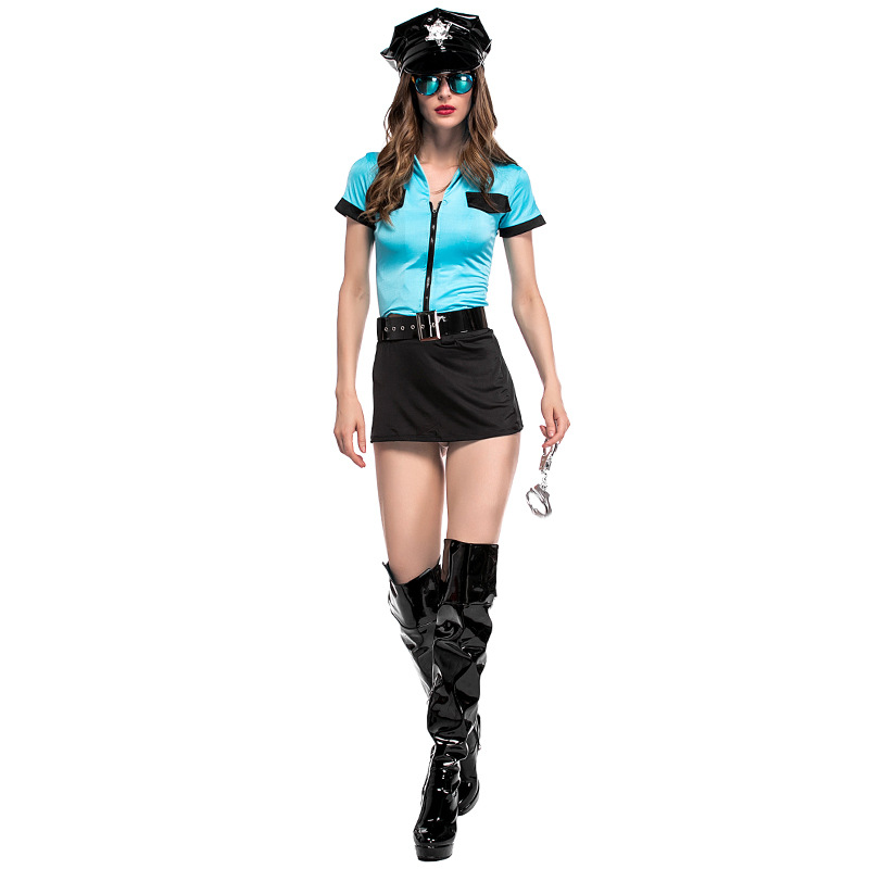 VASHEJIANG New Sexy Women Hottie Police Costume Adult Sexy Cop Outfit Cosplay Costumes Women Halloween Police Fancy Dress