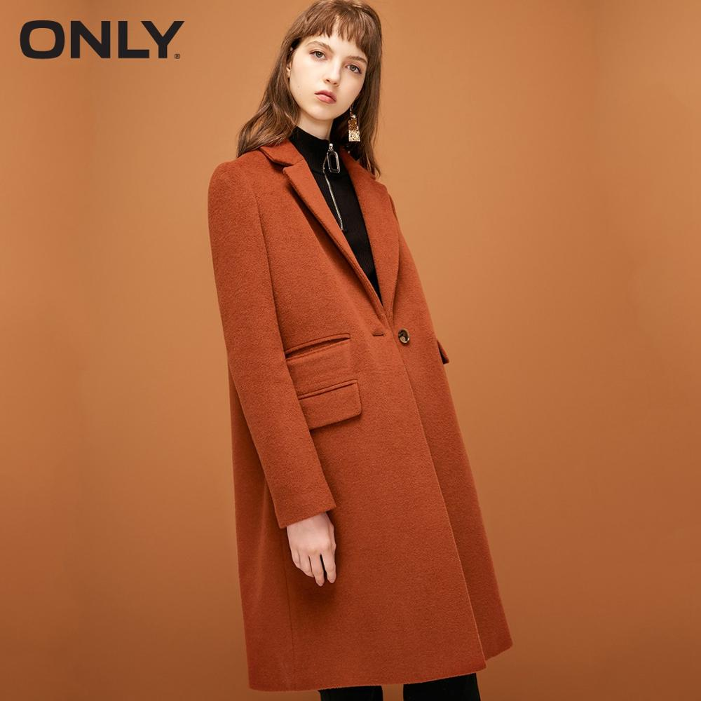 ONLY  womens' winter new style wool long thick woolen coat Letter embroidery Multi-pocket decoration 11834S540