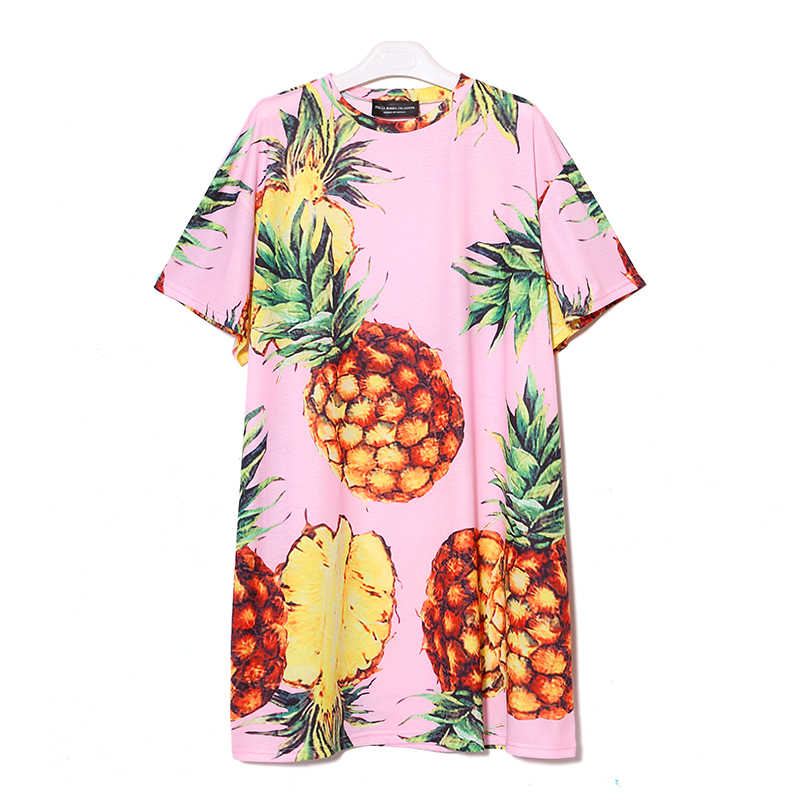 Корейский стиль 2019, модное летнее женское пляжное платье с ананасовым принтом и в повседневном стиле, черно-розовое летнее платье, милое летнее платье-миди с коротким рукавом, 2163