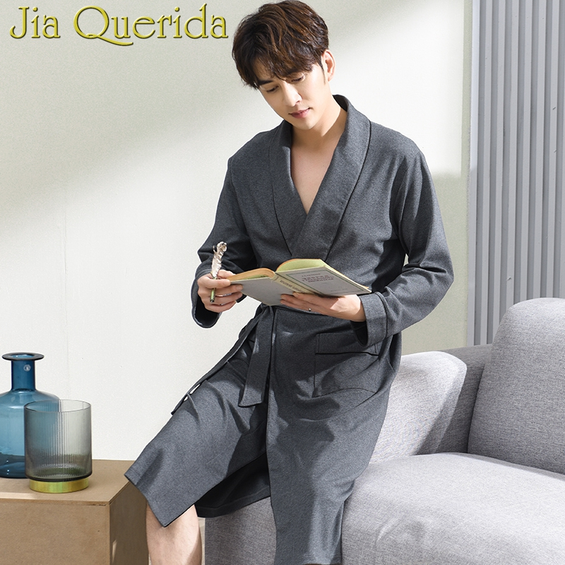 J&Q Kimono Homme 2019 New Arrival Male Cotton Robes Belted Yukata Quality Brands Pajamas Leisure Solid Home Nightgowns For Men