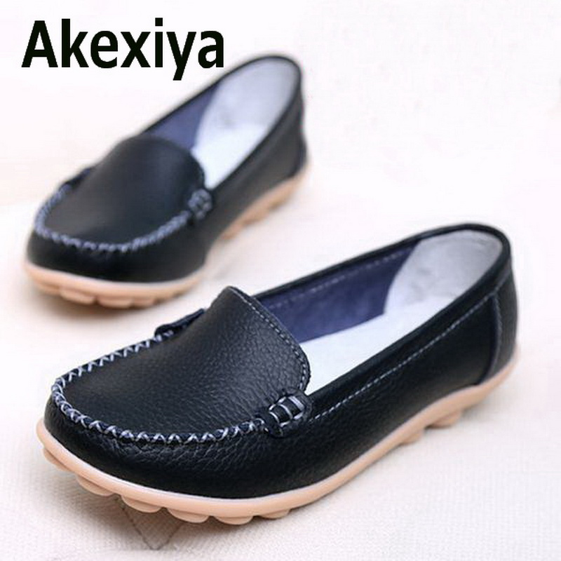 Akexiya Shoes Woman 2017 Genuine Leather Women Shoes Flats 8 Colors Loafers Slip On Women s