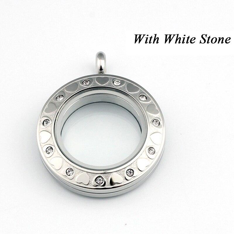 URSJEWELRY плавающая подвеска, медальон 28 мм Твист открытый 316L нержавеющая сталь Стекло Медальоны живой памяти ожерелье - Окраска металла: white crystals