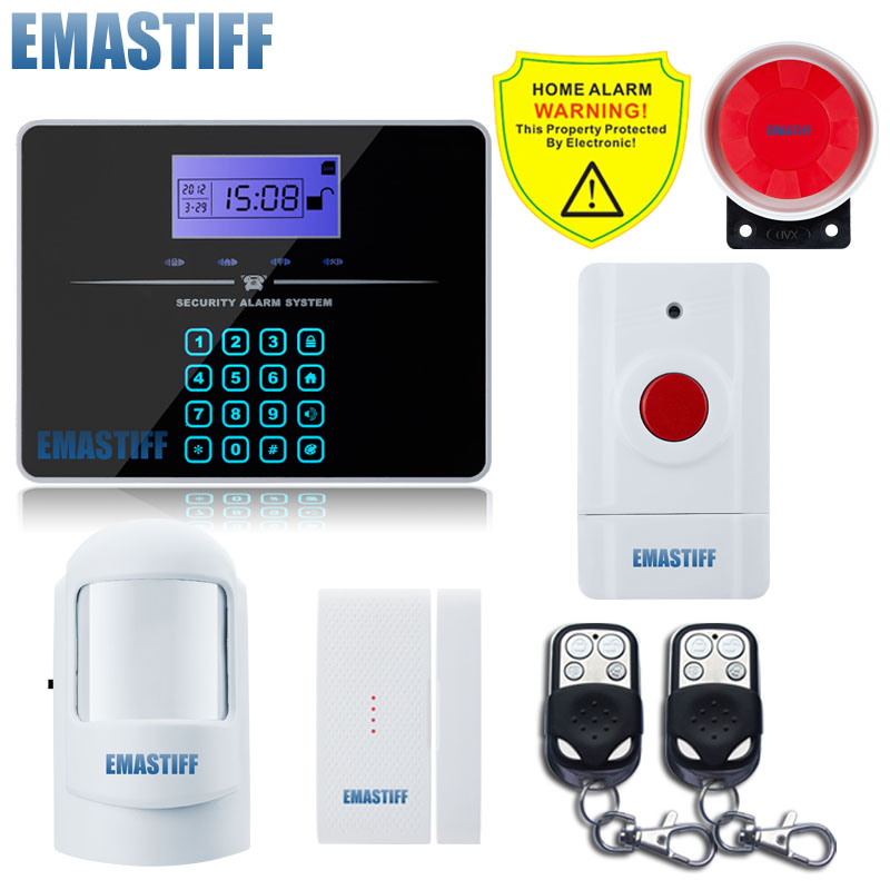Free Shipping Wholesale Wireless PSTN GSM Alarm System Quad-Band S0S Emergency button With LCD 100 wireless Zone Door Open Alarm 2 receivers 60 buzzers wireless restaurant buzzer caller table call calling button waiter pager system