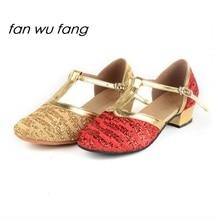 fan wu fang 2017 New Arrival Glitter Fur/Rubber Sole Ballroom Latin Dance Shoes Tango Dancing Shoes For Children Kids Women 228