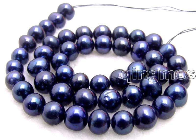 SALE Big 8-9mm Black high quality Round Freshwater pearl Loose Beads 14-los521 wholesale/retail Free shipping