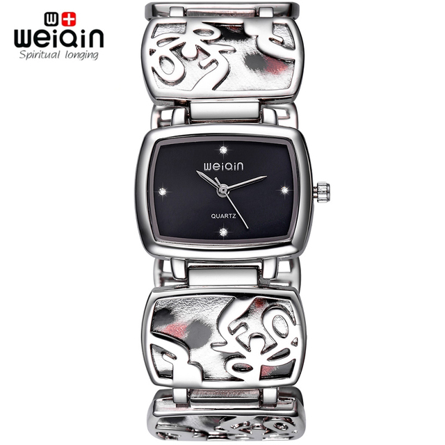 WEIQIN Rhinestone Silver Watch Women Fashion Leopard Bracelet Watches Ladies Analog Quartz-watch Hour reloje mujer 2016 relogios
