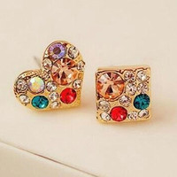 Free Shipping Rhinestone Crystal Heart-Shaped Box Of Small Earrings Asymmetric Jewelry Accessories