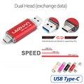 Leizhan tipo-c otg usb 3.0 flash drive 32g pen drive 16g pendrive 64G Teléfono Inteligente USB Flash Stick Tipo C 3.1 Dual de Doble enchufe