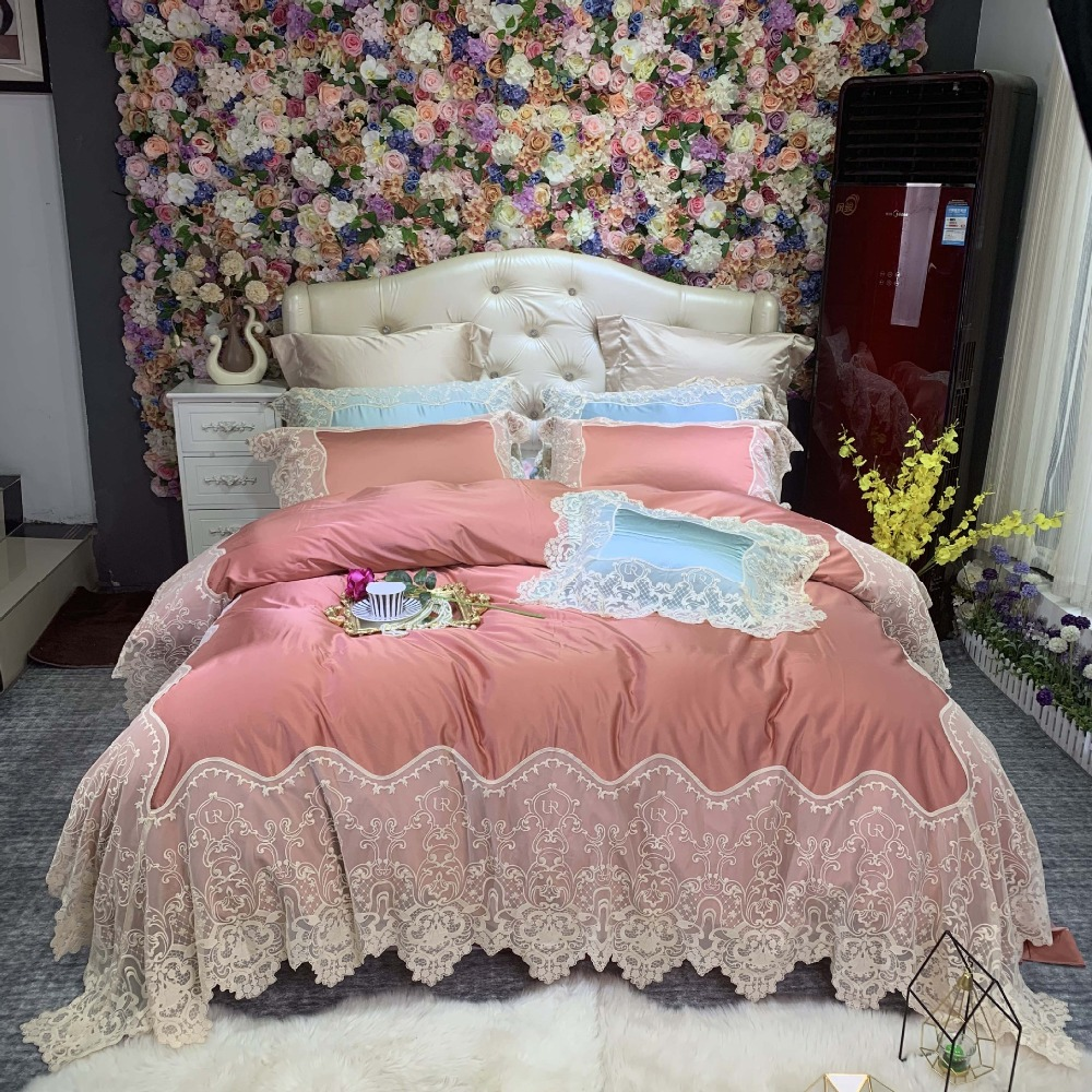 Noble Pink 80S Egyptian cotton Embroidered Bedding sets Queen King Luxury Lace Edge Duvet cover Princess Bed sheet set 4pc SolidNoble Pink 80S Egyptian cotton Embroidered Bedding sets Queen King Luxury Lace Edge Duvet cover Princess Bed sheet set 4pc Solid