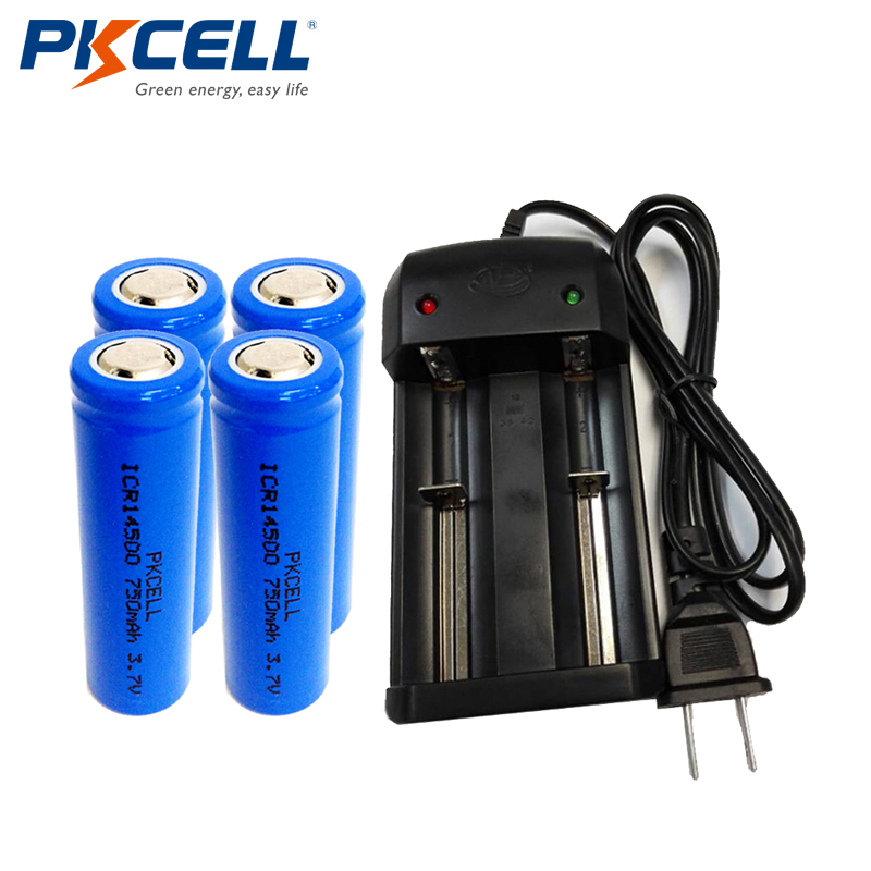 PKCELL 4Pcs ICR14500 Li-ion Rechargeable Battery Batteries 750Mah 3.7V +1pcs Smart Dual Battery Charger For ICR 14500 Battery 5 x 750mah battery