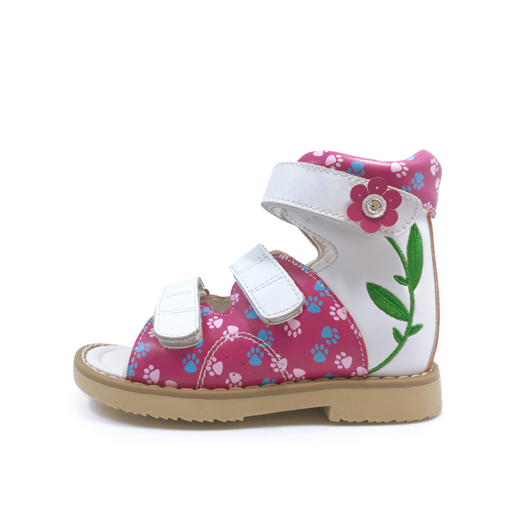 2019 New arrival summer baby girl shoes children breathable orthopedic leather shoes kid strap rhinestone flat