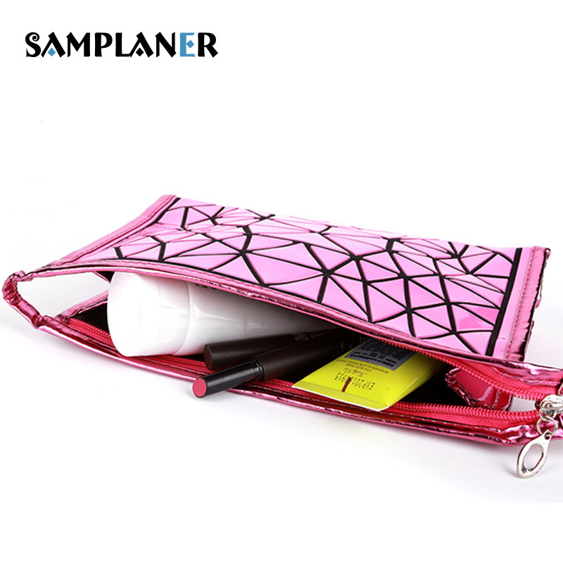 Samplaner Geometric Makeup Bags Women Cosmetic Bag Flash Diamond Beauty Cases Necessary Organizer Bags Folding Toiletry BaoBao