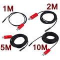 1M/2M/5M/10M Universal IP67 Waterproof 2 In 1 7MM Dual Interface Endoscope Adjustable Light LED Borescope For Android