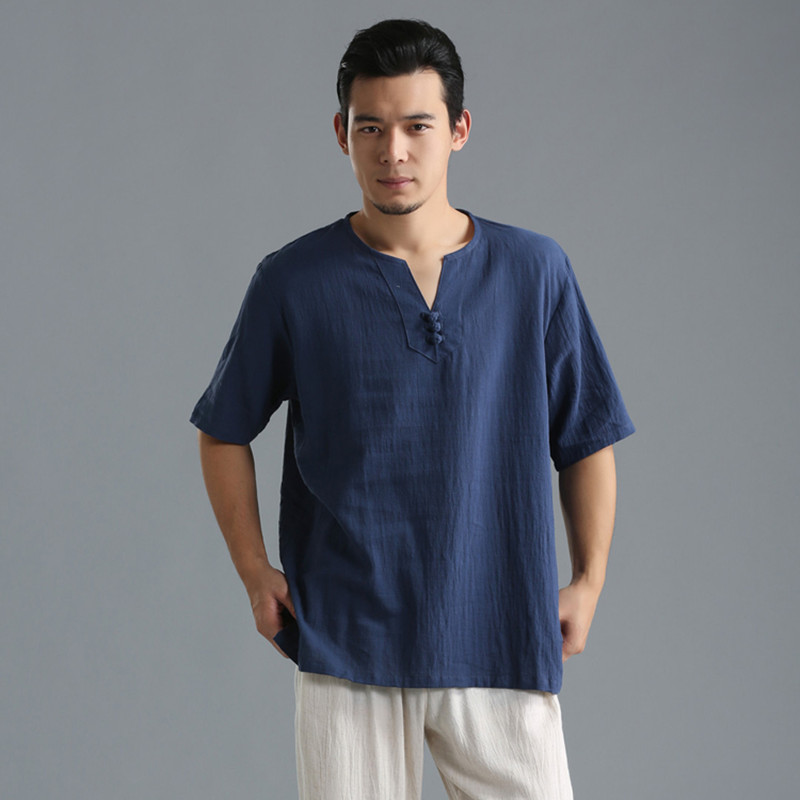 Summer <font><b>Men</b></font> Shirt Linen Cotton Man <font><b>Clothing</b></font> Solid Flax <font><b>Men's</b></font> Half Shirt Loose shirt Collarless Short Shirts <font><b>Plus</b></font> <font><b>size</b></font> M-5XL <font><b>6XL</b></font> image