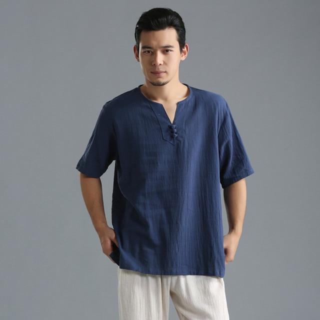 Extrêmement Été Hommes Chemise Lin Coton Homme Vêtements Solide de Lin Hommes  XT94