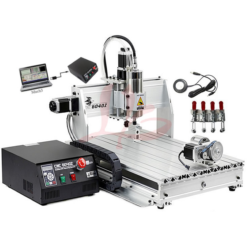 4 Axis USB Milling Machine CNC 6040 Mach3 manual Router with 1500W VFD spindle and auto-checking tool, USB port 6040z vfd 2 2kw usb 4axis 6040 cnc milling machine mini cnc router with usb port russia free tax