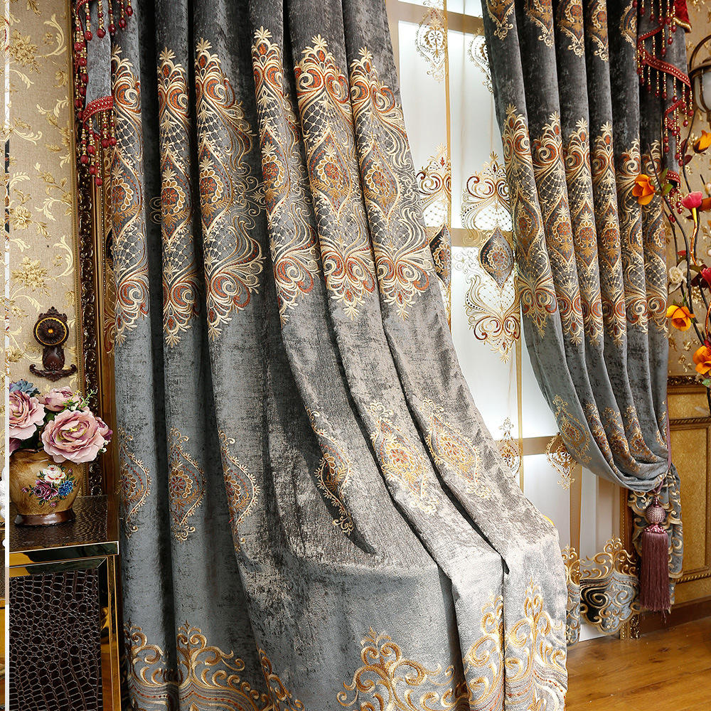 Europe embroidered Octagonal window blackout curtains for bedroom Polyester cotton luxury valance blackout curtain home decor