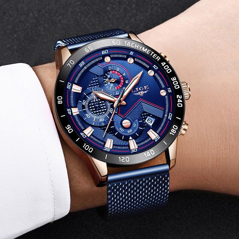 LIGE Fashion Mens Watches Top Brand Luxury WristWatch Quartz Clock Blue Watch Men Waterproof Sport Chronograph Relogio Masculino 5