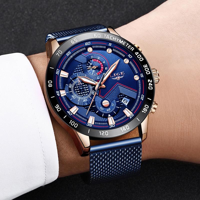 Image 5 - LIGE Fashion Mens Watches Top Brand Luxury WristWatch Quartz Clock Blue Watch Men Waterproof Sport Chronograph Relogio Masculino-in Quartz Watches from Watches