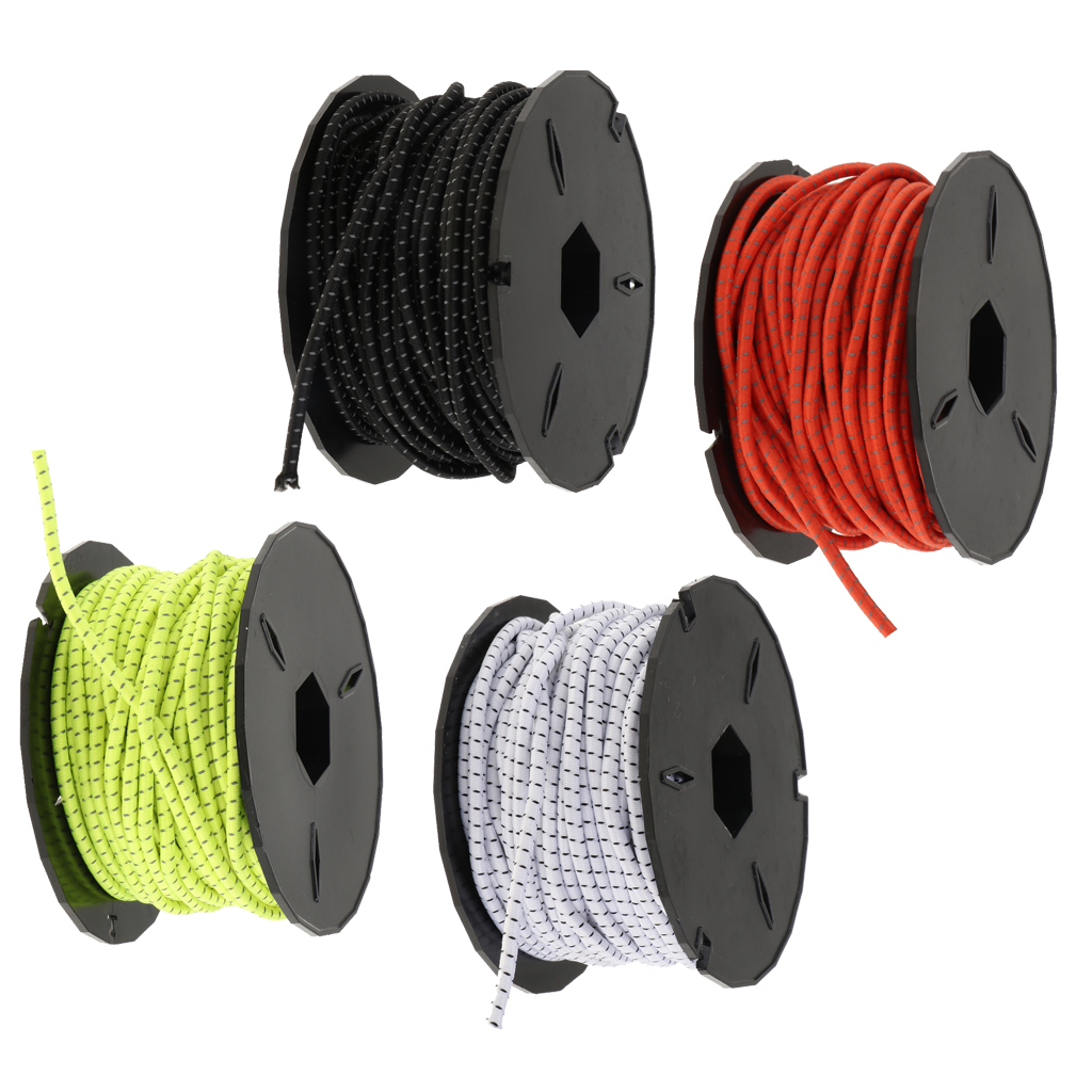15m 3mm Elastic Bungee Cord Heavy Duty Shock Ropes Tie Down Rope For Outdoor Survival Camping Hiking Marine Boat Gear Bundles