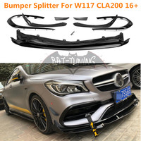 ABS Front Bumper Canards For Mercedes CLA Class CLA200 CLA250 CLA45 AMG W117 Front Lip Fin 2016+ Facelift Sports Version