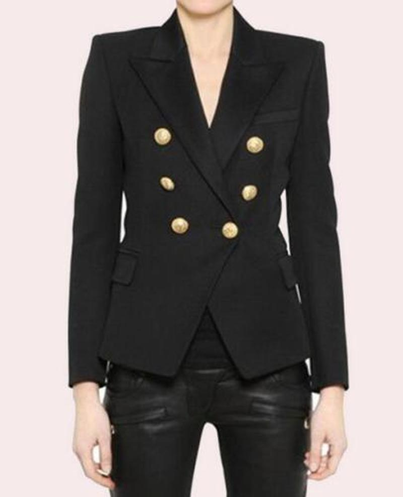 Womens Inspired Double Breasted Office Blazer Gold Buttons Woolen Cashmere Lapel Collar OL Coat  Fashion Black