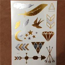 Free Shopping Metallic Temporary Tattoo Gold Silver Taty Flash Swallow Tattoos For Women Party Body Art