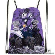 Custom The Nightmare Before Christmas Drawstring Backpack Bag Cute Daypack Kids Satchel (Black Back) 31x40cm#180531-03-53