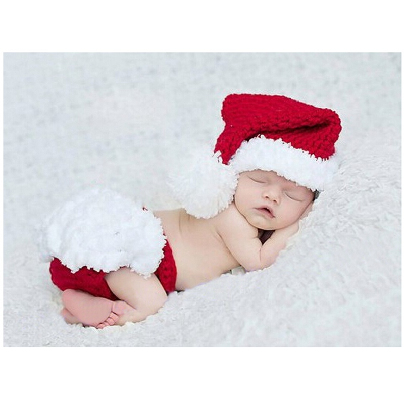 Hand-made Knitting Red Christmas Photography Props Santa Claus Crochet Baby Hat + PP Pants Set Conjuntos Newborn Girl Clothing