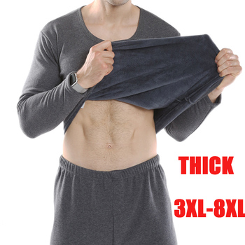 plus size thermal underwear men autumn winter cotton thick super soft thick loose warm long johns shirtpants underwear set