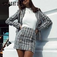 Affogatoo Elegant office ladies Two piece plaid tweed women blazer suit Casual suits female blazer sets Chic blazer skirt suits