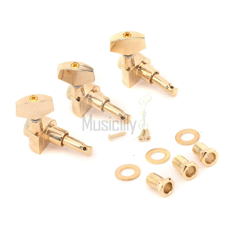 6Pcs / Set 3R3L Gold Big Button Acoustic / Electric Guitar Locking Machine Heads Tuning Pegs Keys Tuners nyx professional makeup гель помада plush gel lipstick dime piece 08