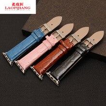 Laopijiang el color brillante de la piel de becerro importada hebilla apple apple watch reloj inteligente reloj de la correa de accesorios de moda