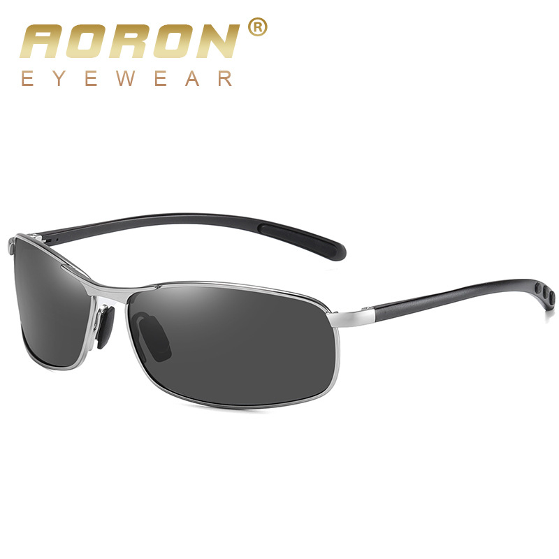 AORON Mens Polarized Sunglasses Men Classic Rectangle Sun Glasses Aluminum Leg UV400 Sunglasses Mirror Eyewear 1