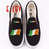 E LOV Unique printed Ireland national flags shoes popular Irish letter print women girls canvas shoes loafers dropshipping