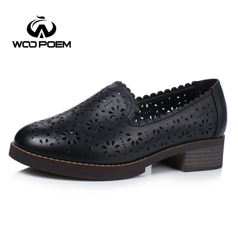 WooPoem Genuine Leather Flats Hollow Summer Shoes Woman Slip-On Convenient Wear Off Med Heel Flats Fretwork Women's Shoes 7001 whensinger 2017 woman shoes female genuine leather flats slip on summer fashion design f927