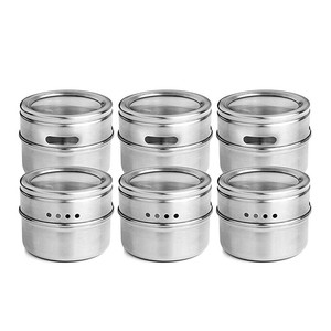 Image 2 - 12pcs/set Clear Lid Magnetic Spice Tin Jar Stainless Steel Spice Sauce Storage Container Jars Kitchen Condiment Holder Housewa