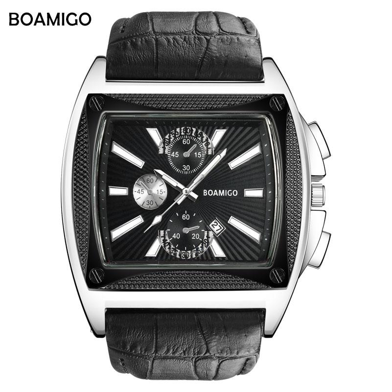 BOAMIGO brand men quartz watches big dial luxury stlye wrist watch black leather strap auto date gift clock relogio masculino