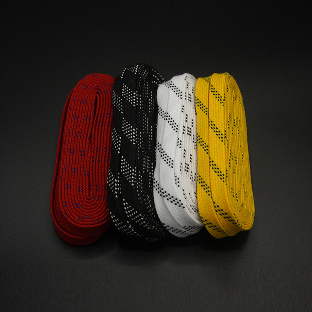Skate Laces 96in 108in 120in Dual Layer Braid Extra Reinforced Tips Waxed Tip Design Suit For Ice Hockey Skate Hockey Shoe Lace