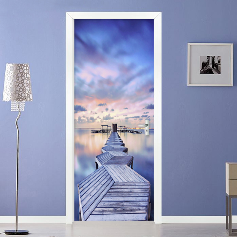 Modern 3D Blue Sky Sea View Wood Bridge Door Sticker Living Room Bedroom Creative Photo Wall Mural Waterproof Vinyl Wallpaper 3D book knowledge power channel creative 3d large mural wallpaper 3d bedroom living room tv backdrop painting wallpaper
