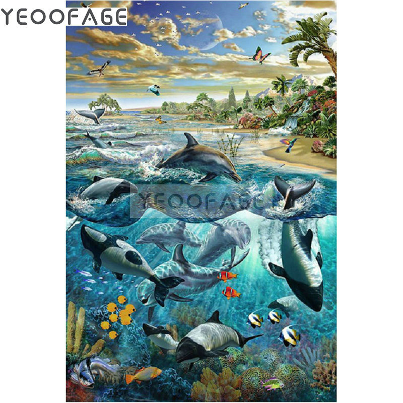 DIY 5D full diamond painting cross Stitch diamond Embroidery dolphin rhinestone Needlework Diamond Seaside scenery Decorative