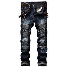 ตรงWashedซิปกางเกงHommeจีบกางเกงยีนส์BIKERกางเกงยีนส์ 2018 ผู้ชายSLIM FITยี่ห้อDesigner DENIMกางเกงชาย